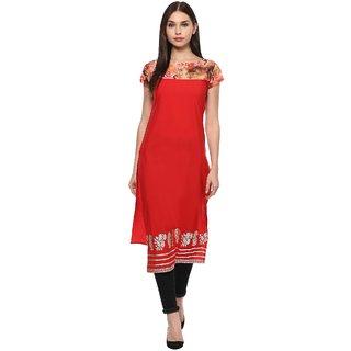 Ahalyaa Red Floral and metallic foil print kurti