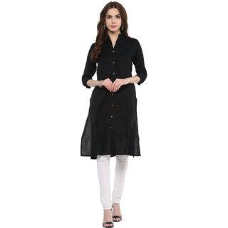 IVES Black Straight cut printed kurti made of Cotton-KT113003Black
