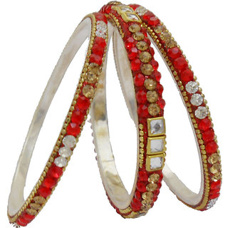 My Design Designer Red Bridal Kundan Lac Bangles Set For Women And Girls(Size-2.6)