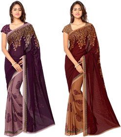 Anand Sarees Faux Georgette Blue_Purple And Multi Color Printed Combo Saree With Blouse Piece ( 1108_1_1190_4 )