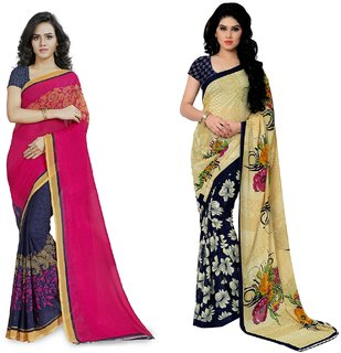 Anand Sarees Multicolor Printed Georgette Saree With Blouse Combo