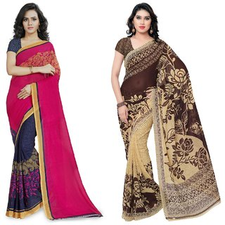 Anand Sarees Faux Georgette Pink_Brown And Multi Color Printed Combo Saree With Blouse Piece ( 1190_1_1086_3 )