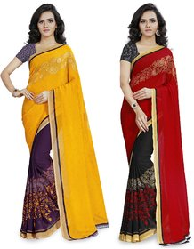 Anand Sarees Multicolor Georgette Printed Saree With  Combo ( COMBO_1190_2_1190_3 )