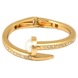 Men Style Best Gift Popular Design Crystal Screw Nail  Adjustable size  PSBr001008 Gold 316 L Stainless Steel Round Cuff Bangle For Men And Women