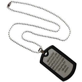 Men Style Spanish Lord's Prayer Bible Verse Cross  Black And Silver Stainless Steel Square Necklace Pendant For Men and Boys