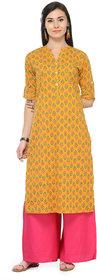 Varanga Mustard Printed Cotton Mandarin Collar 3/4 Sleeves Straight Kurta witth Palazzo KF-VARSS17145_PZ15210555