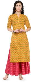 Varanga Mustard Printed Cotton Mandarin Collar 3/4 Sleeves Straight Kurta witth Palazzo KF-VARSS17145_PZ16101005