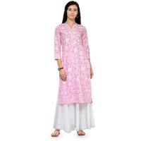 Varanga Pink and White Printed Cotton Mandarin Collar 3/4 Sleeves Straight Kurta witth Palazzo KF-VARSS17143_PZ16101071
