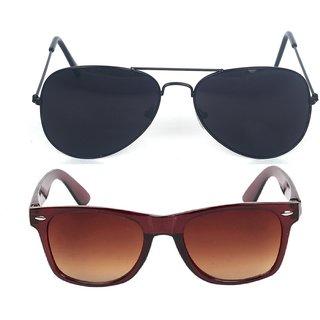 5191be30816b Fashno Combo of Black Aviator And Brown Wayferer Sunglasses (Medium Size) (UV  Protected)