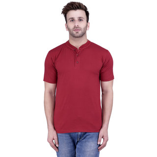 Weardo Men's Maroon Round Neck T-Shirt