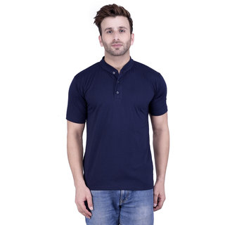 Weardo Men's Navy Round Neck T-Shirt
