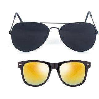 1ab40163d4a6 Fashno Combo Of Black Aviator And Golden Mirror Wayferer Sunglasses (UV  Protected) (Medium Size)