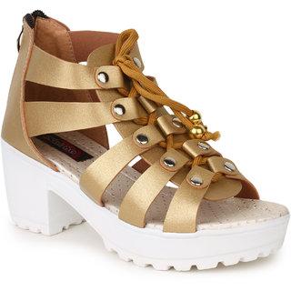 56e8ce9c653 Buy Naisha Women s Gold Sandals Online - Get 34% Off
