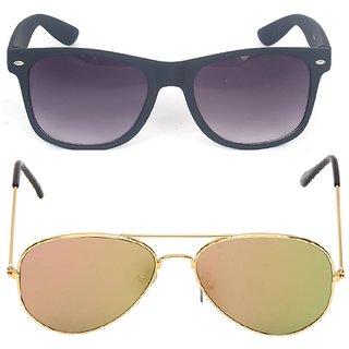 d515b2140704 Buy Fashno Combo Of Black Wayferer And Flat Golden Mirror Aviator Sunglasses (UV Protected) (Medium Size) Online - Get 60% Off