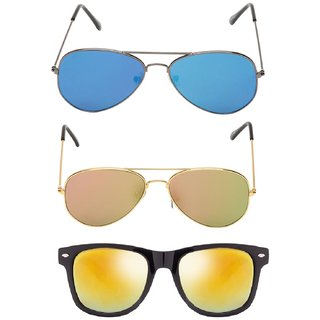 7d5ec5b3d635 Fashno Combo Of Multi Color And Style Sunglasses (Pack Of 3) (UV Protected