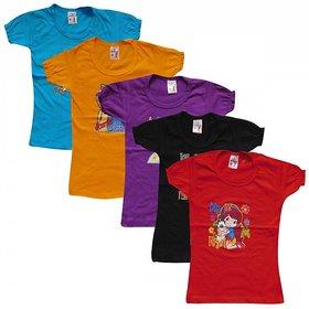 Mayuresh Girls Cotton T-Shirt Combo Of 5