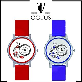 Peacock Red And Black Colour Round Dial Analog Watches Combo For Girls And Womens by  miss