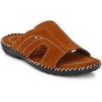Afrojack Men Tan Slip On Sandals