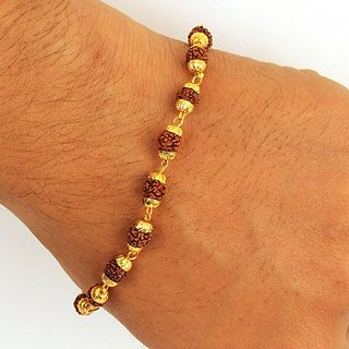 Rudraksha Bracelet With Gold Cap Pack Of 1