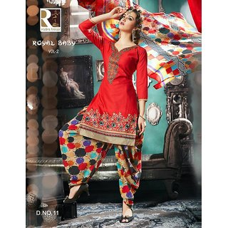 red cottan patiala suit salwar by india fashion