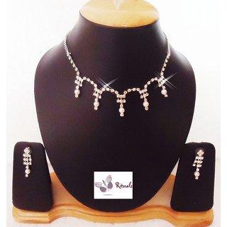 Exclusive Designer Cz Diamonds And Faux Pearls Necklace Set
