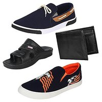 Earton Men Canvas COMBO Pack Of 4 Loafers & Moccasi