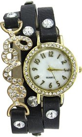 7Star Black love diamonds studded on case leather belt Analog Watch - For Women by miss
