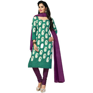 Drapes Womens Green Cotton Printed Dress material (unstitiched) DF1553 (Unstitched)
