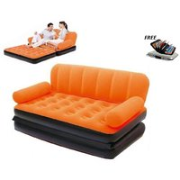 5 IN 1 AIR SOFA BED NON VELVET PVC ORANGE RECLINER INFLATABLE AIRBED LOUNGER + FREE ALUMA WALLET