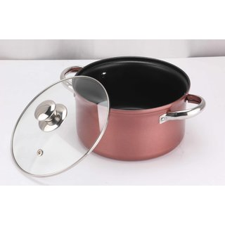 Pristine Non Stick Induction Compatible Cook  Serve Casserole with Glass Lid, 18 cm