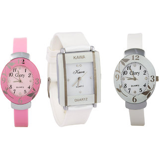 i DIVA'S Combo Of Three Watches- Pink And White Glory White Rectangular Dial Kawa Watch BY JAPAN STORE