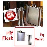Stainless Steel Hip Flask - Free Peg Measure