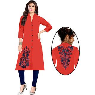PT - 1126 Stylish pink  round shape neck full sleeve embroidered kurti