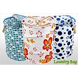 New Foldable Laundry Bag Basket With Printed Pocket /foldable Laundry Basket