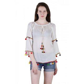 6b291b5b3c4a1 Buy Jollify Women s White Pom Pom Top(ktiptopwht) Online - Get 68% Off