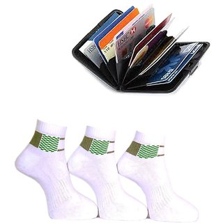A&G Multi Casual Ankle Length Socks Men (SM104PO3) With Free Alluma Card Holder