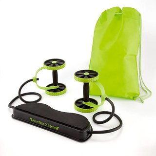 IBS Revoflex Xtreme Resistance Slimming Extreme Rubber Workout Bands Power Roller AbExerciser Wheel(Green, Black)