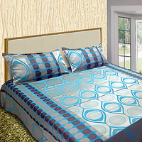 Cara Blue Satin Touch Double Bed Cover Set