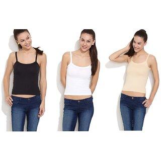 Combo of 3 Cotton Camisoles-Black,Skin  White-Premium Quality