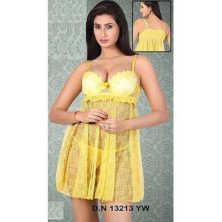 9b329ec00b Hot Babydoll   Panty Set Yellow Night Wear Lingerie Bed 13213 Sheer Sleep  Women In India - Shopclues Online