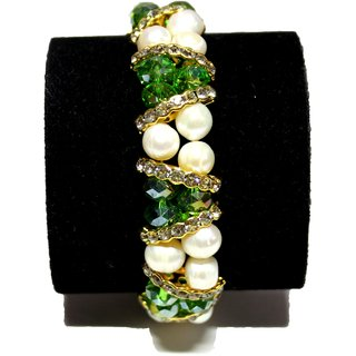 Fresh Water Fancy Pearl Bracelet - White With Green And Golden Bead In 2 Strings