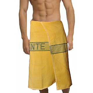 Deal Wala 1 Piece Set Of Russian Cotton Bath Towel - Yellow