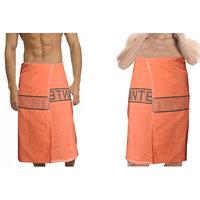 Deal Wala 2  Piece Set Of Russian Cotton Bath Towel - Orange