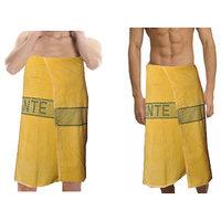 Deal Wala 2  Piece Set Of Russian Cotton Bath Towel - Yellow