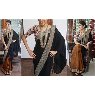 Handloom Tangail Cotton Chikan Saree Black