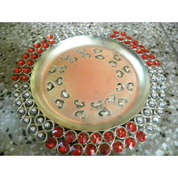 Stone Studded Metal Thali / Serving Tray For All Purposes