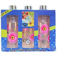 G-PET Fancy Fridge Water Bottle 1 Ltr Pink With Steel Cap - Gift Set Of 3