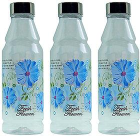 G-PET Fridge Water Bottles Rose 1 Ltr Blue with Steel Cap - Set of 3