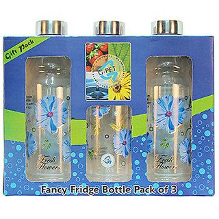 G-PET Fancy Fridge Water Bottle 1 Ltr Blue With Steel Cap - Gift Set Of 3