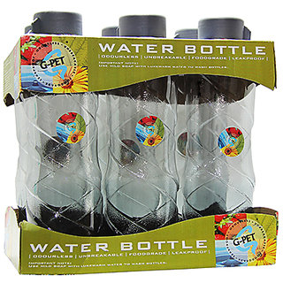 GPET Fridge Water Bottle Poppy 1 Ltr Grey  Set of 6